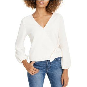 Madewell Texture & Thread Off White Crepe Wrap Top